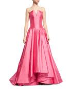 Deep V Strapless Ball Gown, Rose