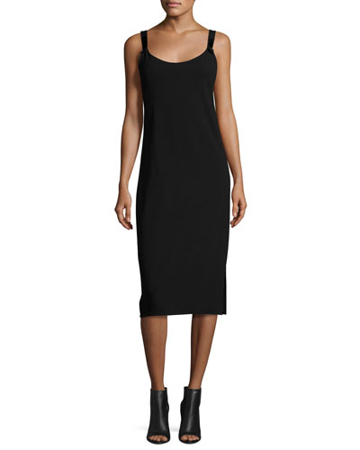 Open-Back Sleeveless Slip Dress, Black