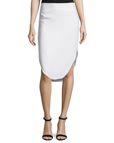 Curved-Hem Pencil Skirt, Chalk
