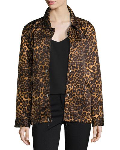 Leopard-Print Oversize Moto Coat