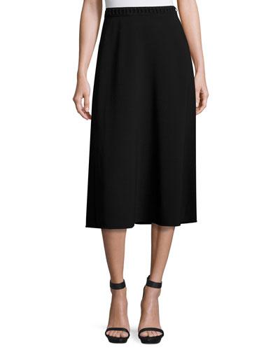 Laced-Waist A-Line Midi Skirt, Matrix