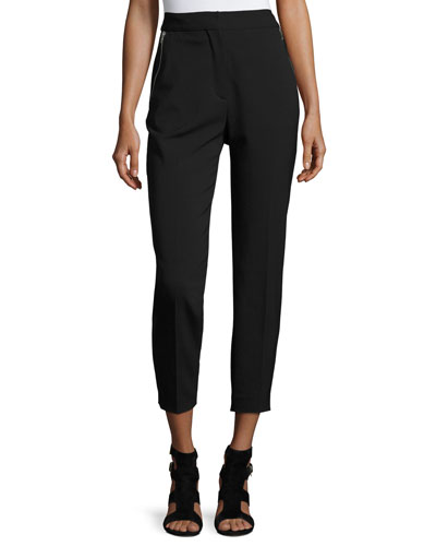 High-Waist Zip-Pocket Ankle Pants, Matrix