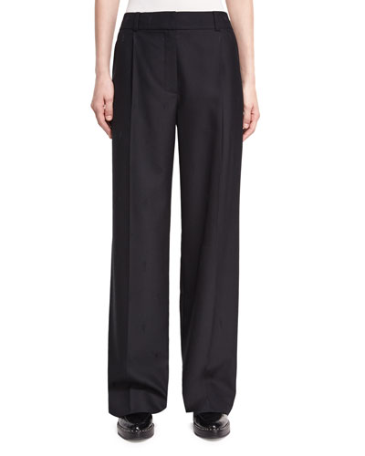 Single-Pleat Wide-Leg Wool Pants, Black