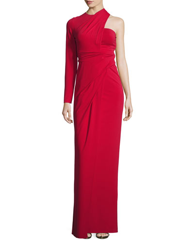 Asymmetric One-Sleeve Bustier Gown, Vermillion