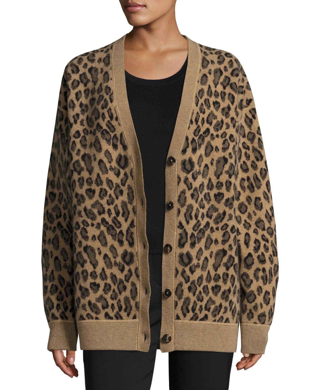 Oversized Leopard-Print V-Neck Cardigan, Leopard