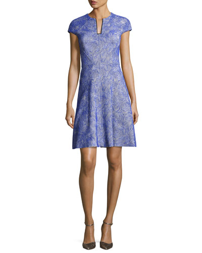 Blair Swirl-Jacquard Cap-Sleeve Dress, Lapis