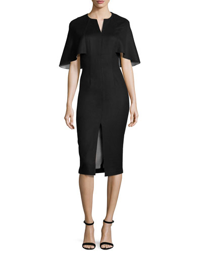 Capelet Front-Slit Sheath Dress, Black