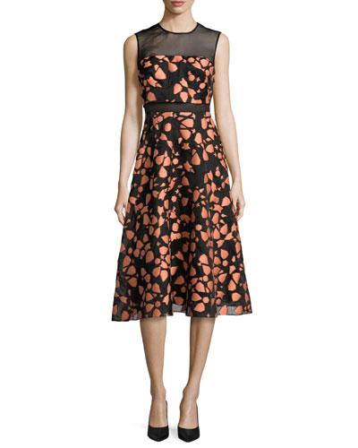 Fil Coupe Sleeveless Full-Skirt Dress, Shell/Black