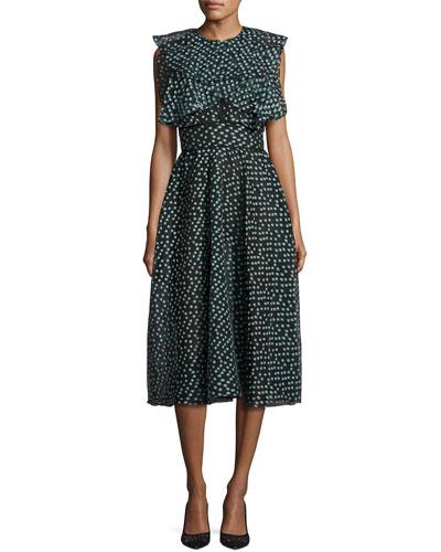 Ruffled Dotted Organza Midi Dress, Seafoam