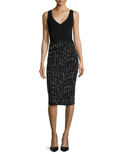 Speckled Tweed Sleeveless V-Neck Dress, Black/Ivory