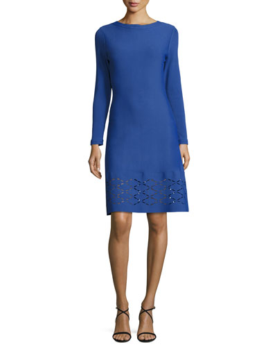 Diamond Laser-Cut Long-Sleeve Dress, Lapis
