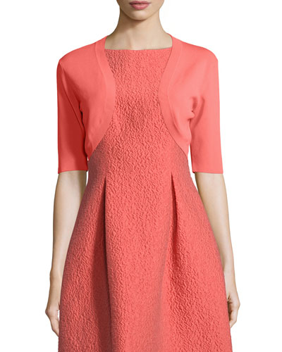 Half-Sleeve Cropped Shrug, Coral