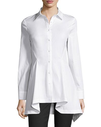 Flared-Hem Long-Sleeve Blouse, White
