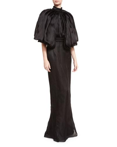 Flounce-Sleeve Open-Back Silk Gown, Black