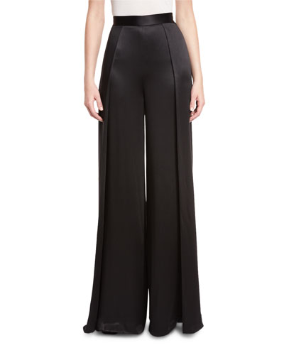 Crepe-Back Satin High-Waist Wide-Leg Pants, Black
