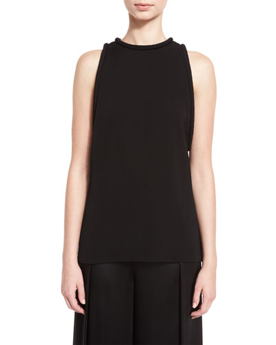 Piped Sleeveless Round-Neck Tunic, Black
