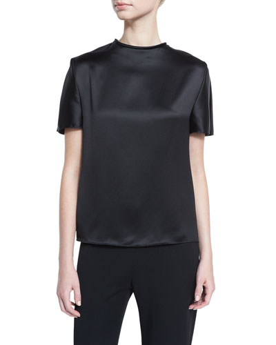 Round-Neck Short-Sleeve Satin Blouse, Black