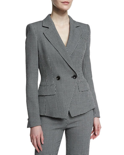 Double-Breasted Dotted Seersucker Jacket, Black