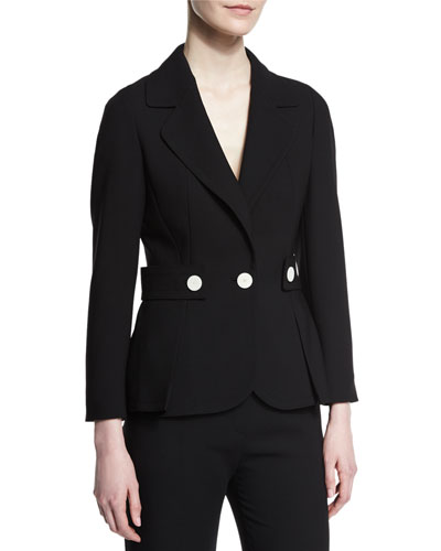 Tab-Waist One-Button Jacket, Black