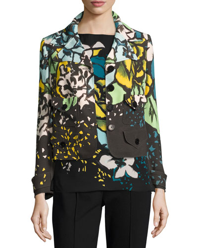 Bane Aquarelle Floral Place Print Jacket, Fantasy