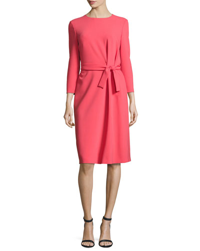Belted Bracelet-Sleeve Dress, Melrose