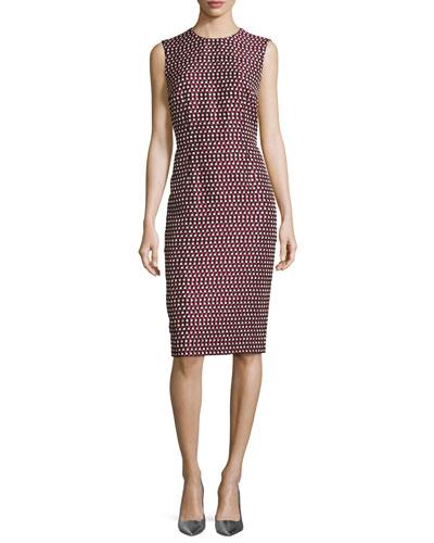 Check Matelassé Sleeveless Sheath Dress, Navy/Multi