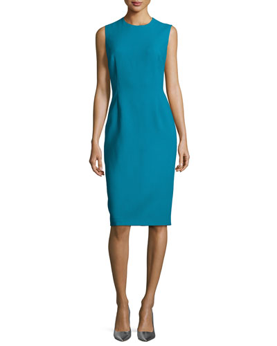 Sleeveless Wool Sheath Dress, Bay