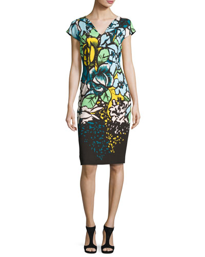 Floral Cap-Sleeve Sheath Dress, Fantasy