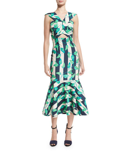 Belice Leaf-Print Tiered-Hem Midi Dress, Green/Blue
