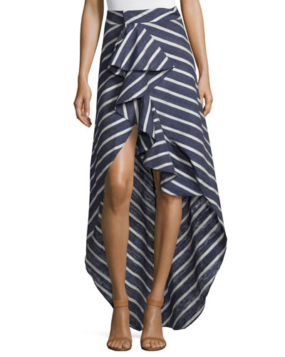 Ruffled Striped Pareo Skirt, Blue/White