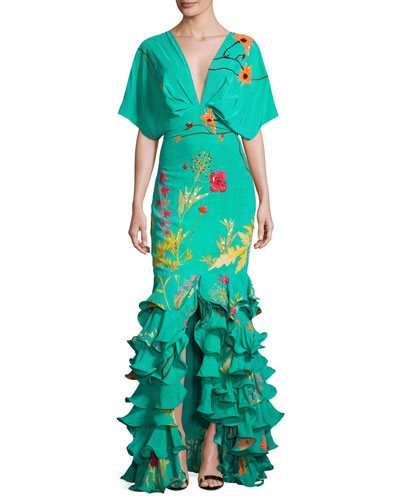 Caribe Floral Ruffled-Hem Dress, Green/Orange