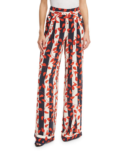 Curacao High-Waist Striped Trousers, Red/White/Blue