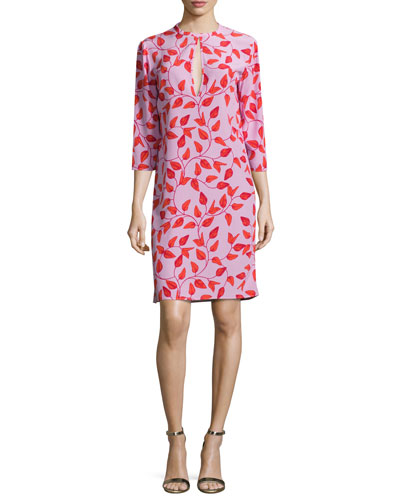 Libertad Leaf-Print Keyhole Tunic Dress, Red/Pink