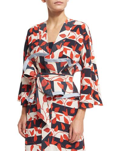 St. Croix Leaf-Print Striped Kimono Coat, Red/White/Blue