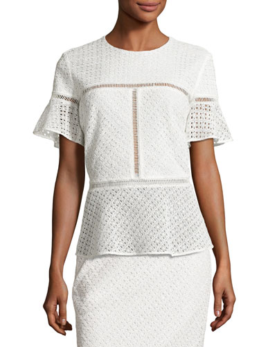 Eyelet Peplum Short-Sleeve Top, Off White