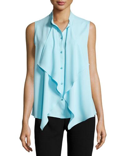 Ruffled Sleeveless Button-Front Blouse, Cerulean