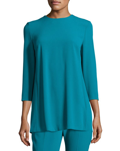 Pleated-Back 3/4-Sleeve Tunic, Bay