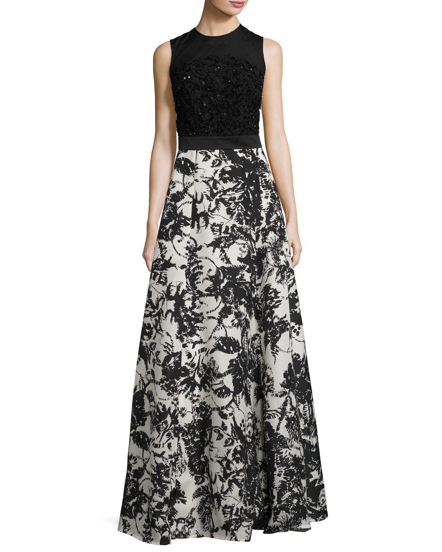 Beaded Floral-Skirt Sleeveless Gown, Fantasy