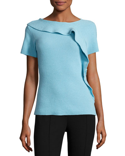 Ruffled Short-Sleeve Ribbed Sweater, Cerulean