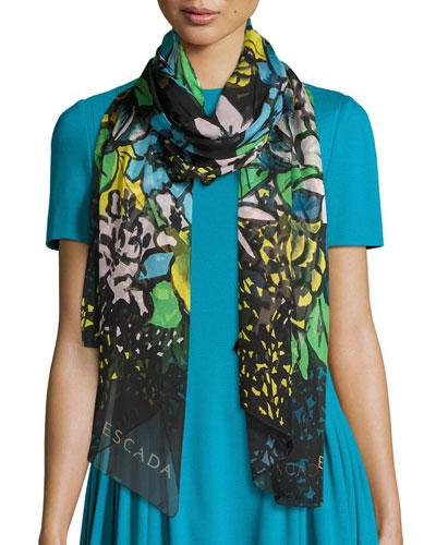 Aquarelle-Print Silk Oblong Scarf, Fantasy