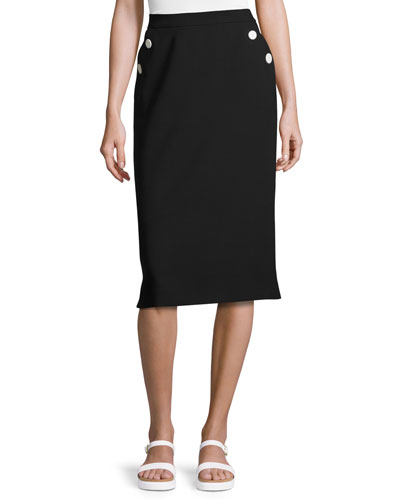 Button-Pocket Pencil Skirt, Black