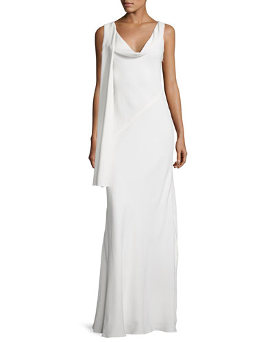 Draped Cowl-Neck Sleeveless Gown, Off White