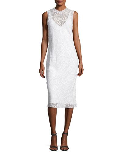 Devoré Sleeveless Round-Neck Dress, Gesso/Off White