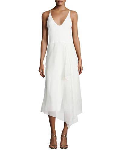 Sleeveless Modified-Racerback Dress, Alabaster