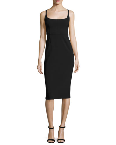 Open-Back Sleeveless Sheath Dress, Black