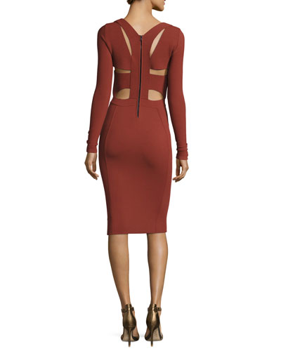 Long-Sleeve Cutout-Back Dress, Burnt Sienna