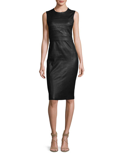 Sleeveless Leather Sheath Dress, Black