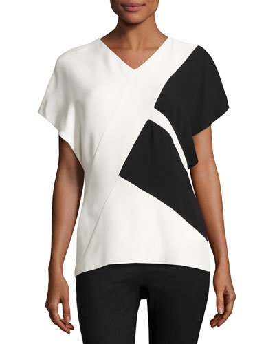 Colorblock V-Neck Short-Sleeve Top, Black/White