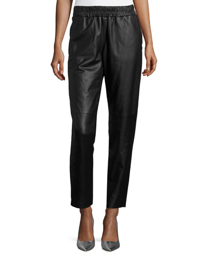 Lunana Leather Ankle Pants, Black