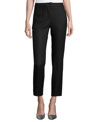 Tnatchi Raffia Tweed Ankle Pants, Black